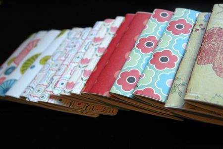 Notebooks in a row